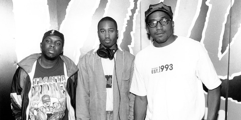 "1994: (L-R) Phife Dawg, Ali Shaheed Muhammad & Q-Tip of the hip hop group""A Tribe Called Quest"" pose for a portrait in 1994. (Photo by Raymond Boyd/Michael Ochs Archives/Getty Images)"