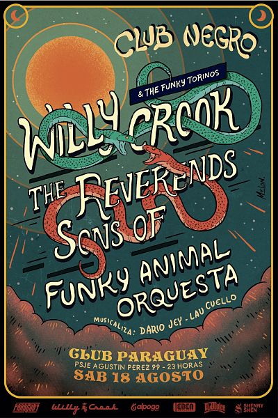 Willy Crook + Reverends Sons Of + Funky Animal Orquesta en Córdoba